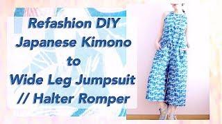 Refashion DIY Kimono to Wide Leg Halter Jumpsuit / 着物リメイク / Thrifted Transformationsㅣmadebyaya