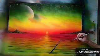 Spray Paint Art - Yoga - Sunset- by Antonipaints art