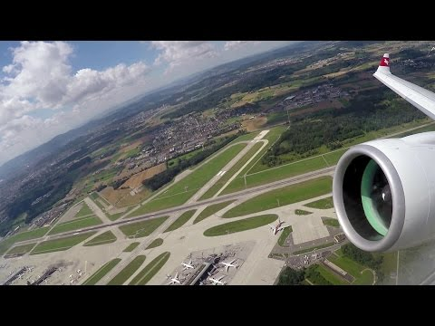 Onboard Go Around at Zurich: Swiss Bombardier C Series CS100 (with ATC)