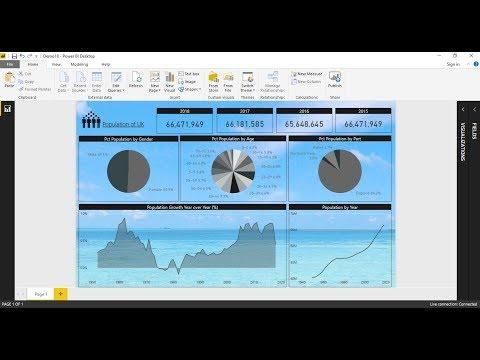 "Demo 18 : Create a report of ""UK's Population"" by using Power Bi Desktop"
