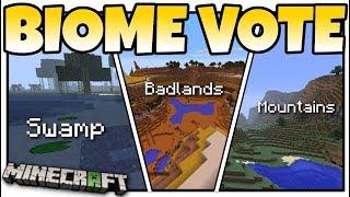 Minecraft - BIOME VOTE - MINECON LIVE ! SWAMPS + MOUNTAINS + BADLANDS - MCPE / Xbox / Bedrock / Java