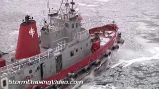 1/5/2014 Ice Breaking Operations in the bay of Green Bay on Lake Michigan
