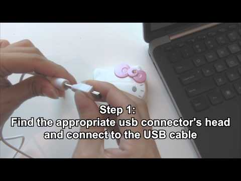 Hello Kitty Portable External Battery Charger - Unboxing and Instruction