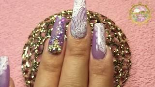 UÑAS POSTIZAS DECORADAS En Color Morado con Sellos para Uñas | Nail Purple Design