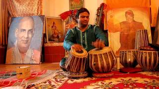 Pankaj Suhash on tabla at Sivanada Ramesh music school in Rishikesh,  India