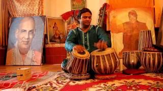 Pankaj Suhash on tabla at Sivanada Ramesh music school in Rishikesh,  India