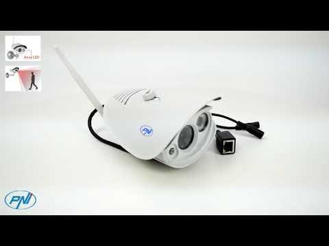 Camera supraveghere video PNI 851W HD 720p cu IP de exterior conectare wireless sau cablu