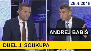 Andrej Babiš zavítal do Duelu J. Soukupa