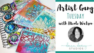 Gelli Printed Peony - 3 Ways: Cards & Journal Pages - Donna Downey Artist Gang Tuesday - 4.10.18