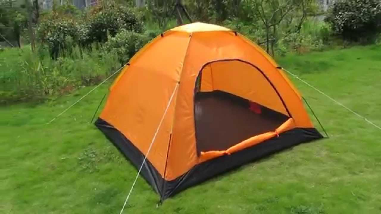 Waterproof 3 Person Single Layers Dome C&ing Tent with 2 Doors in Orange Color & Waterproof 3 Person Single Layers Dome Camping Tent with 2 Doors ...