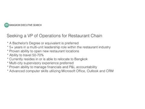 Bangkok Recruiting Firm Seeking VP of Restaurant Operations