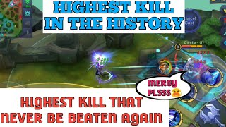 HIGHEST KILL THAT NEVER EVER BE BEATEN AGAIN | MOBILE LEGENDS WORLD RECORD KILL
