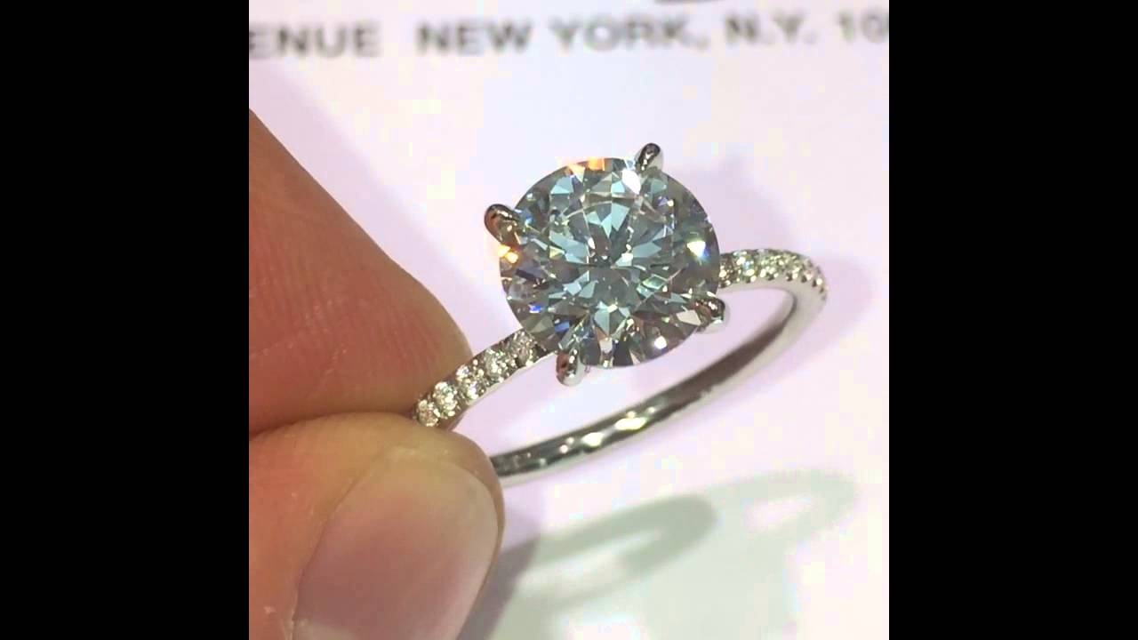 2 50 carat Round cut Diamond Engagement Ring in Thin Micropave Band