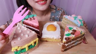 [Eating ASMR] Pizza cake, burger cake, eggs cake, watermelon cake, flower cake + CVS cake