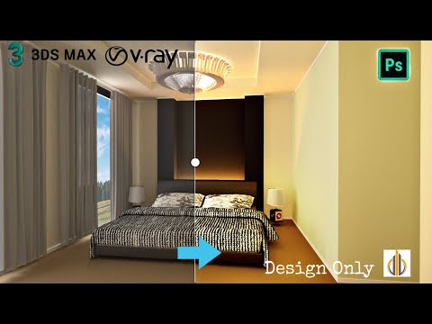 3DS Max Bedroom Interior Tutorial Vray + Photoshop || 3Ds Max 2020 || Design Only
