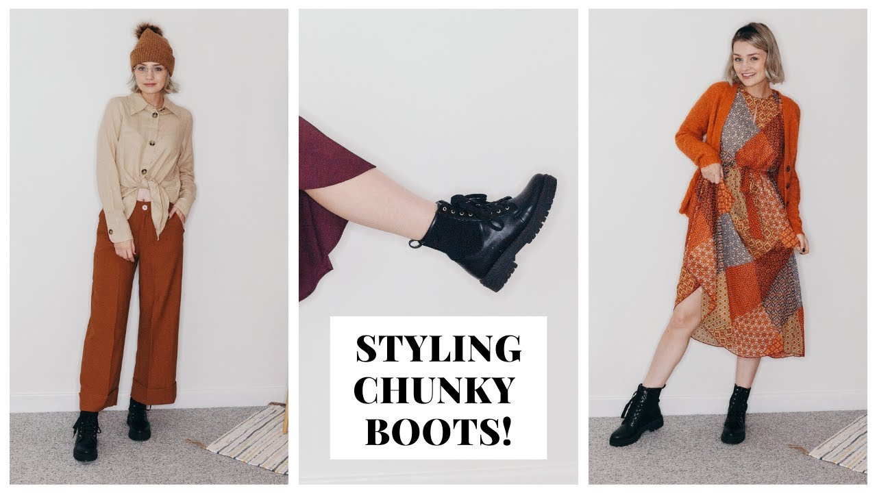 dress with chunky boots
