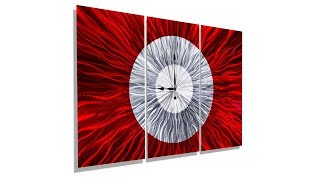 Big Red - Modern Large 3 Panel Metal Wall Clock By Jon Allen