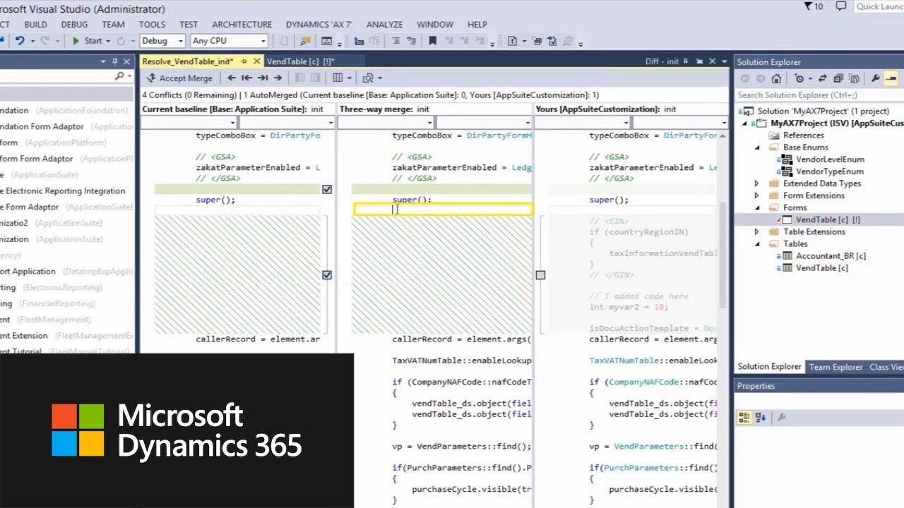 How to resolve conflicts in Visual Studio related to Dynamics 365 for  Finance and Operations code
