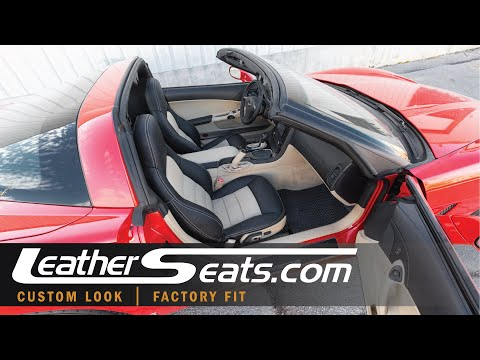 Custom Chevy C6 Corvette Leather Seat Upholstery Kit In Black And Sandstone - LeatherSeats.com
