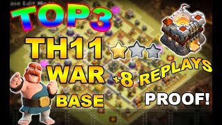 TOP 3 TH11 WAR BASE 2018 Anti 2 Star With +8 Replays Anti Bowler Miner,E-Dragon,Anti Queen Walk |Coc