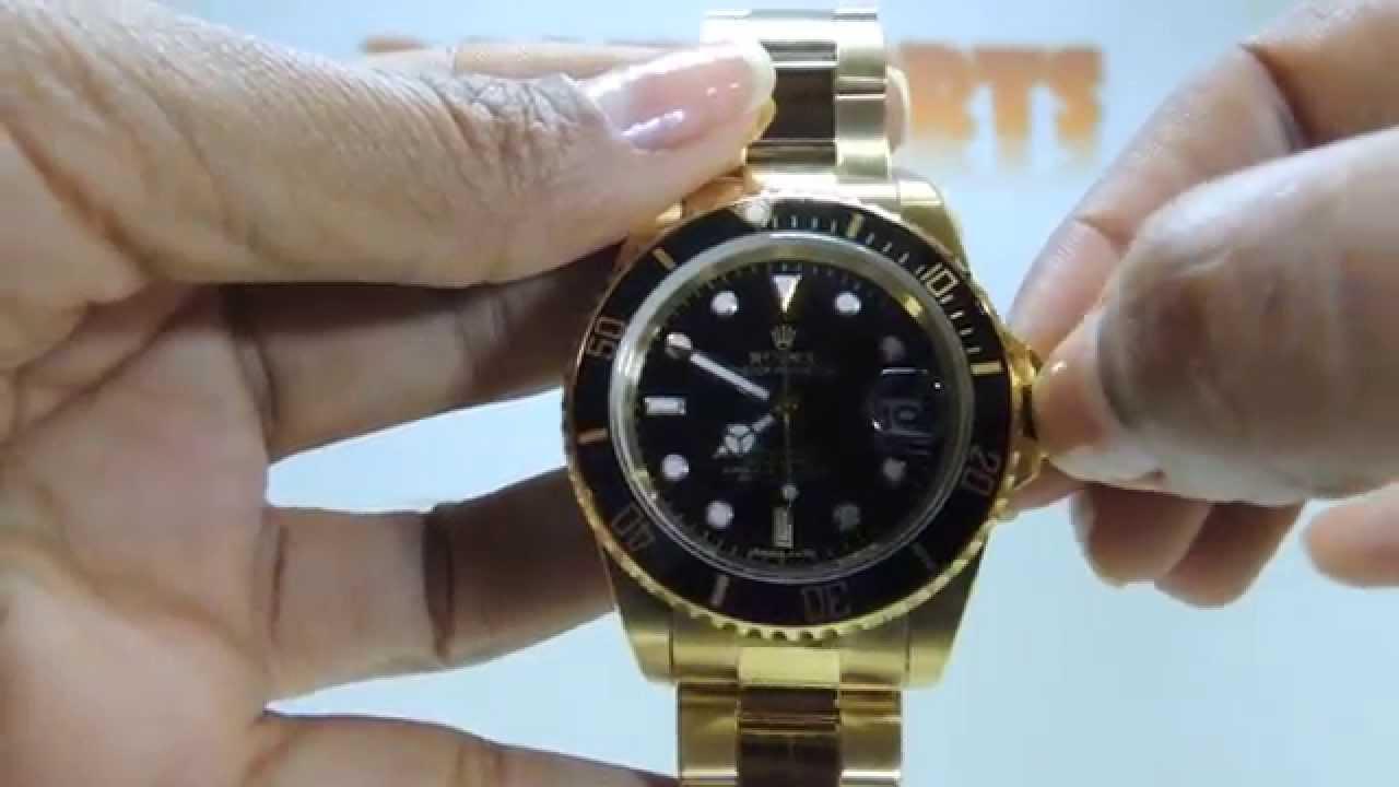 7562d099f2f Relógio Rolex Submariner Preto Dourado Das Imports - YouTube