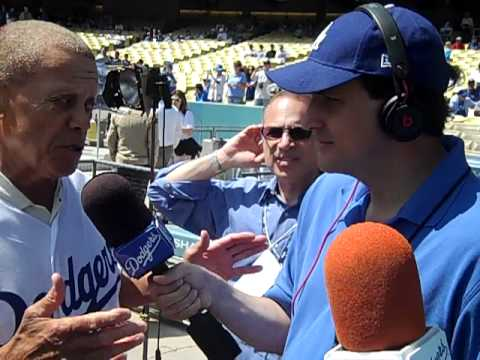 Maury Wills with The Cannons at Dodger Stadium