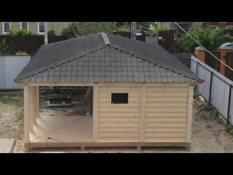 видео: Деревянный навес 6х9 на 2 авто+хозблок.