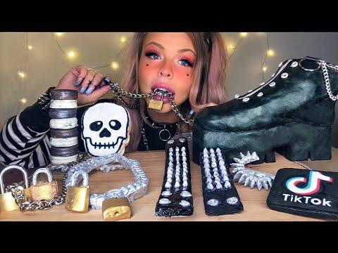 ASMR E-GIRL EDIBLE CHUNKY PLATFORM BOOTS, CHAIN NECKLACE, LOCKS, SPIKE BRACELET, TIK TOK APP MUKBANG