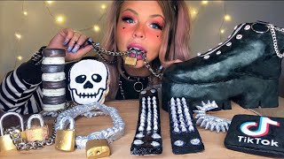 ASMR E-GIRL EDIBLE CHUNKY PLATFORM BOOTS, CHAIN NECKLACE, LOCKS, SPIKE BRACELET, TIK TOK APP MUKBANG
