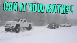 MY SEMA TRUCK RESCUING TRUCKS IN THE SNOW!