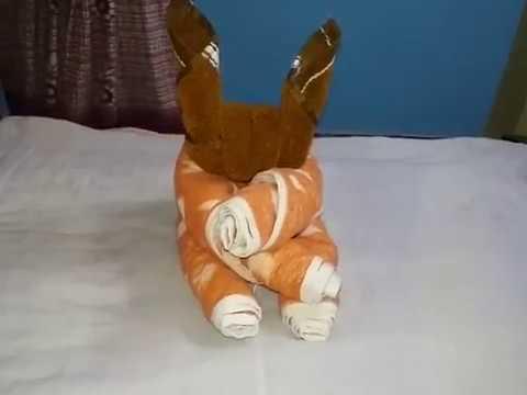 Easy Way To Make Rabbit Using Towel Towel Art Tutorials Towel