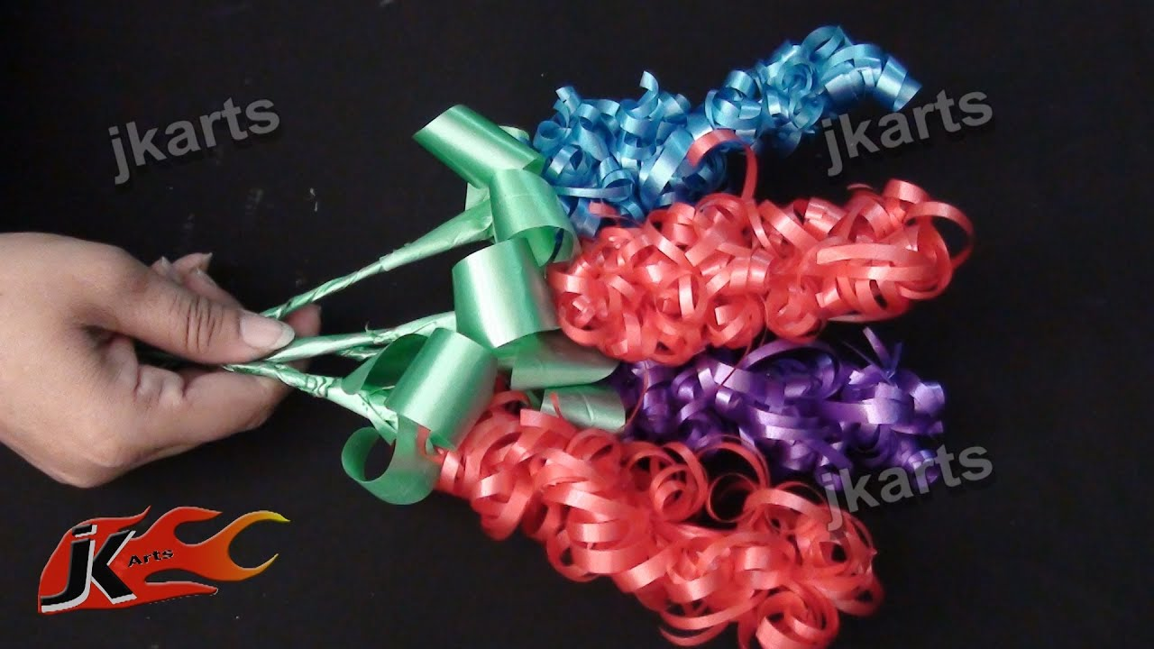 Diy flower stick from ribbon jk arts 221 youtube mightylinksfo