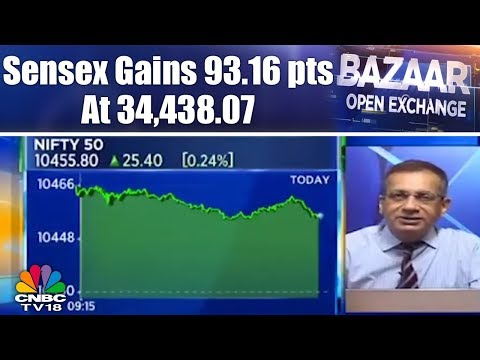 Sensex Gains 93.16 pts at 34,438.07 | Bazaar Open Exchange (Part 2) | CNBC TV18