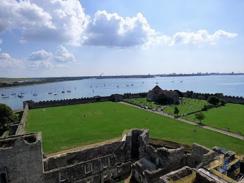 """Portchester Castle, The Keep &  the Aircraft Carrier """"H.M.S. Queen Elizabeth"""" at dock"""