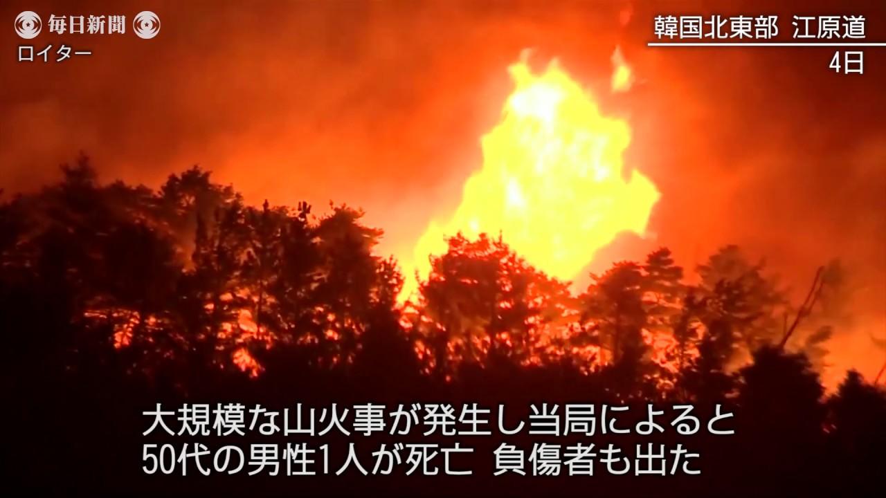 韓国、山火事延焼で1人死亡 数千...