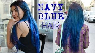 DYEING MY HAIR NAVY BLUE | Metallic Long Blue Hair | Stella