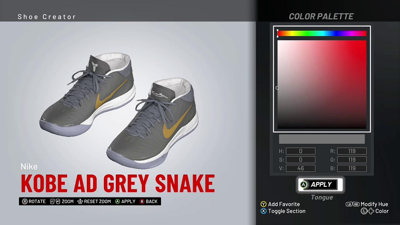 size 40 a2ff6 2b887 NBA 2K19 Shoe Creator - Nike Kobe AD Mid