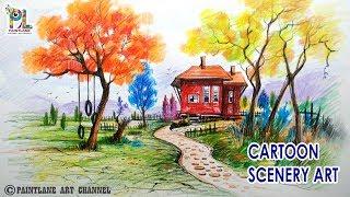 cartoon drawing landscape scenery colorful learn easy drawings very simple beginners step paintingvalley