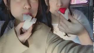 竹内彩姫 Twitterに載せた いちご大福動画 with 優希✌       …全然おも...