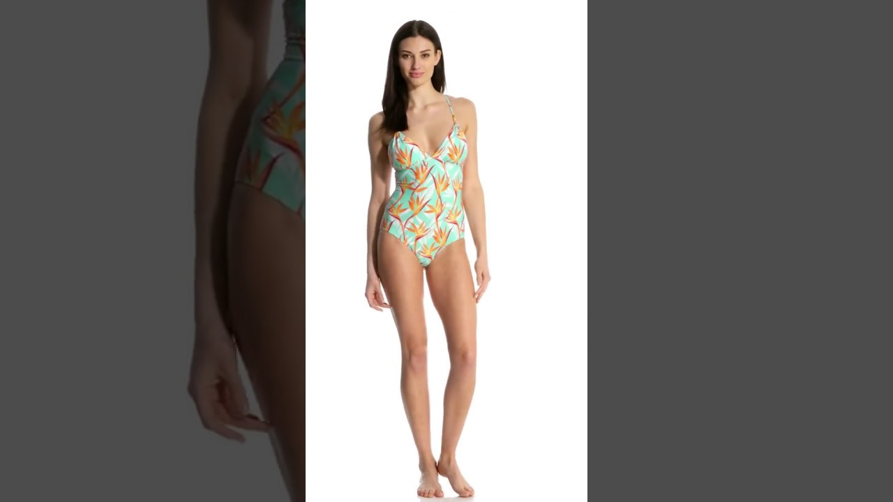 a3b2ea5e1e Helen Jon Fire Island Lattice Back One Piece Swimsuit | SwimOutlet.com