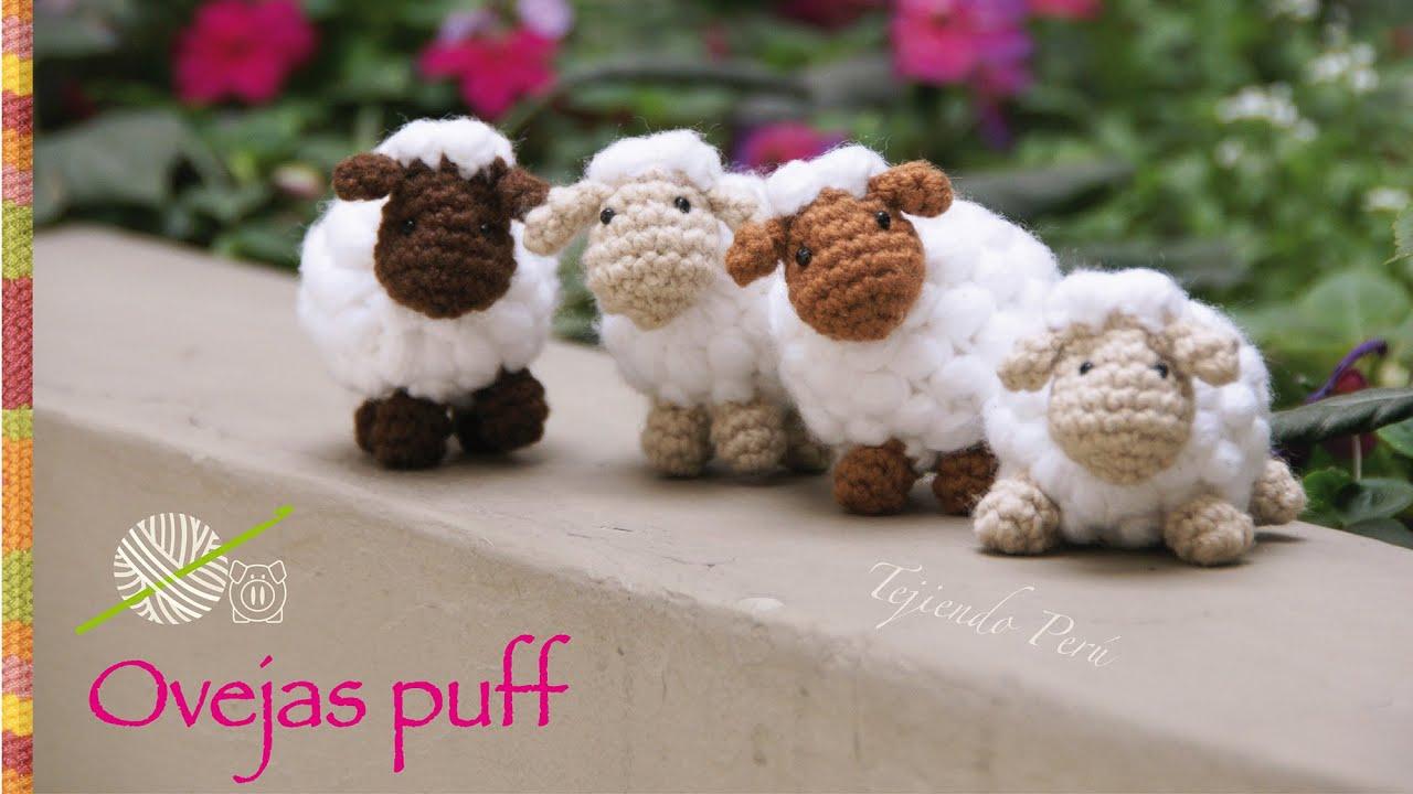 Tejiendoperu Crochet Amigurumis : Ovejas puff como pomponcitos tejidas a crochet amigurumi