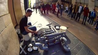 "Street Drummer in Bordeaux @ Electro Techno Pvc Instrument ""El-Loren"""