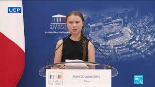 Young ecologist Greta Thunberg addresses French parliament