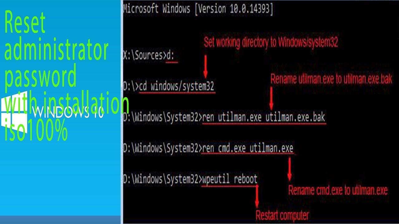 Reset password administrator Windows 10 with installation iso