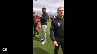Anthony Joshua Plays Football With Manchester United Squad