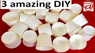 3 Amazing DIY Crafts from Disposable Paper Cup | Kids room decor | Waste material craft - Episode 5