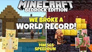 We Broke a WORLD RECORD In Minecraft Bedrock Edition! (14m 56s Speedrun) (1.16 Nether Update Beta)