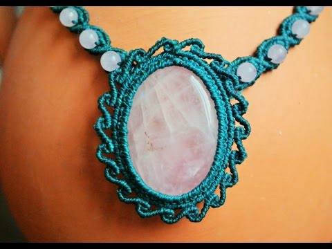 Macrame Necklace with a Gemstone