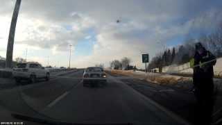 Dashcam car crash on Black Creek Dr. Toronto Police Officer pulled over car in an unsafe manor