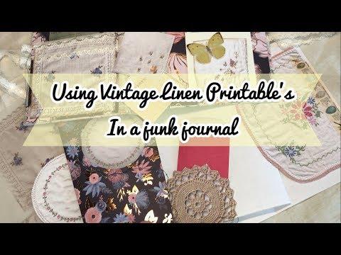 Vintage Linen Printable ideas for junk journals | Windows, pockets, tuck spots & flips